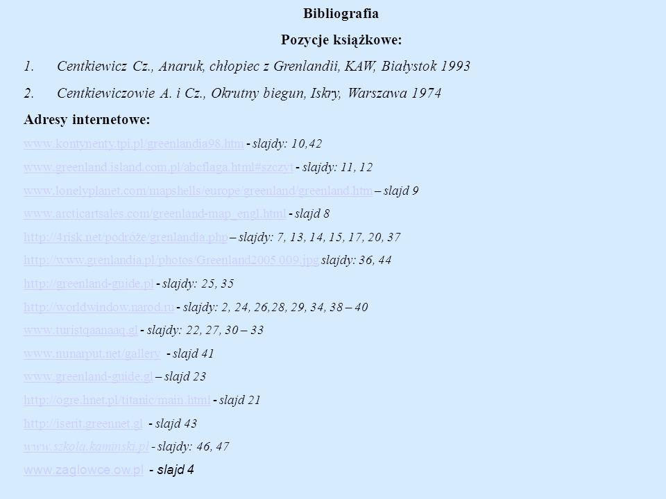 Bibliografia Pozycje książkowe: