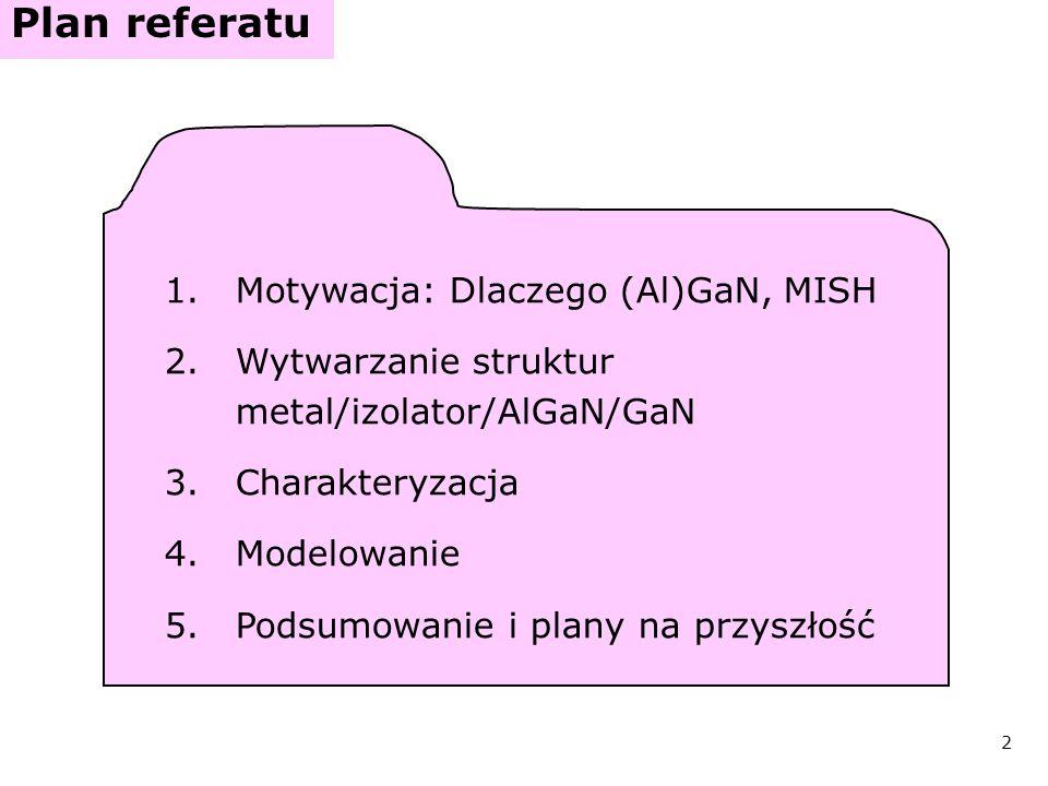 Plan referatu Motywacja: Dlaczego (Al)GaN, MISH