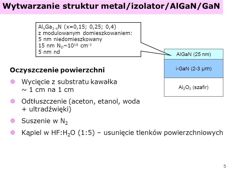Wytwarzanie struktur metal/izolator/AlGaN/GaN