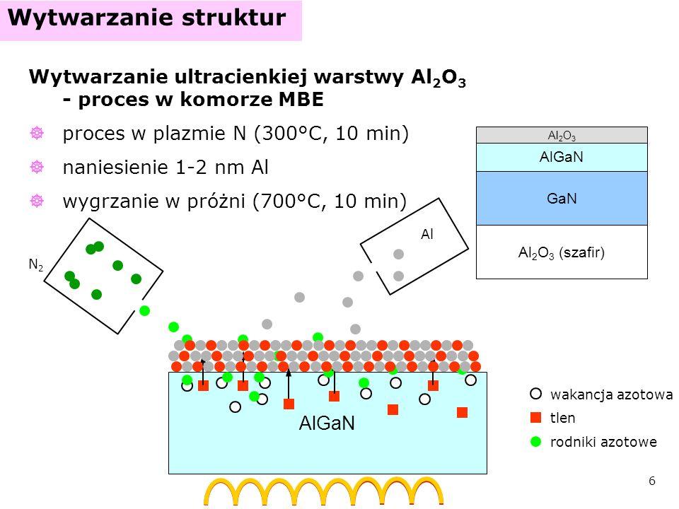 Wytwarzanie struktur Wytwarzanie ultracienkiej warstwy Al2O3 - proces w komorze MBE. proces w plazmie N (300°C, 10 min)