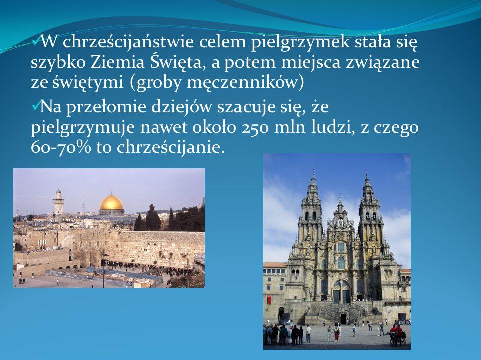 W chrześcijaństwie celem pielgrzymek stała się szybko Ziemia Święta, a potem miejsca związane ze świętymi (groby męczenników)