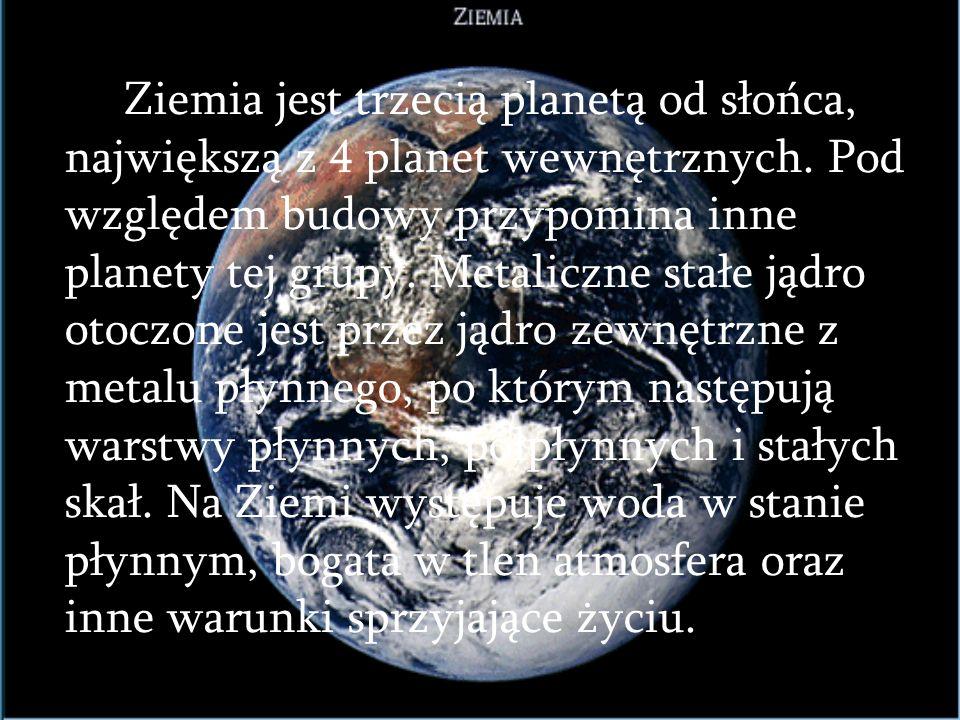Ziemia jest trzecią planetą od słońca, największą z 4 planet wewnętrznych.