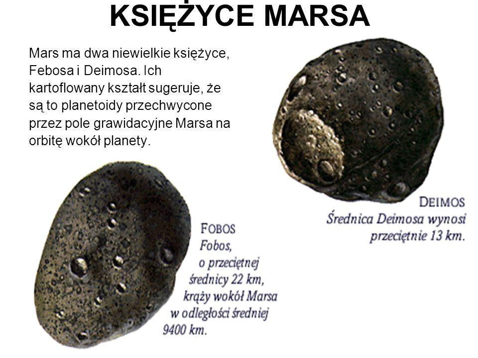 KSIĘŻYCE MARSA Mars ma dwa niewielkie księżyce, Febosa i Deimosa. Ich