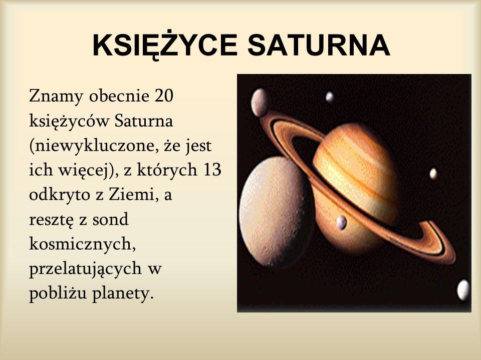 KSIĘŻYCE SATURNA Znamy obecnie 20 księżyców Saturna