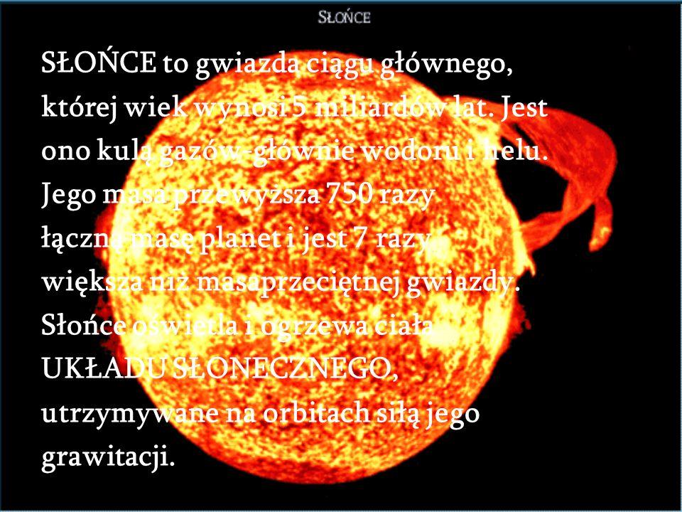 SŁOŃCE to gwiazda ciągu głównego,