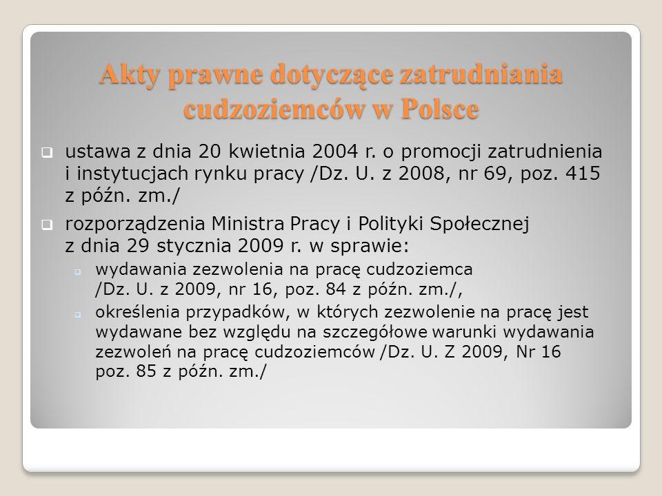 Akty prawne dotyczące zatrudniania cudzoziemców w Polsce