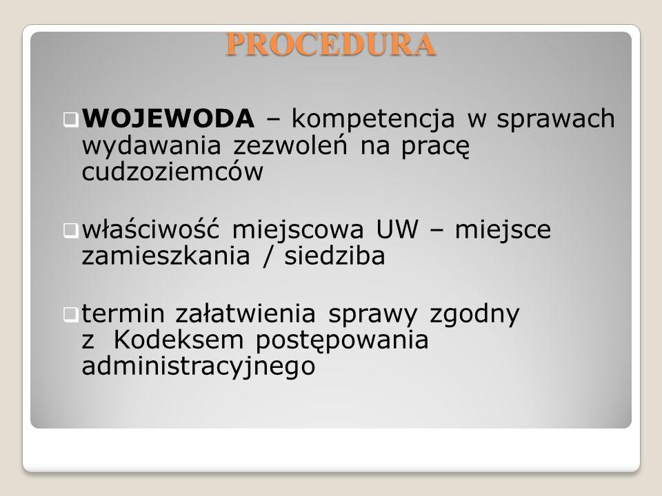PROCEDURA WOJEWODA – kompetencja w sprawach wydawania zezwoleń na pracę cudzoziemców. właściwość miejscowa UW – miejsce zamieszkania / siedziba.