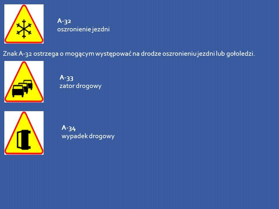 A-32 oszronienie jezdniZnak A-32 ostrzega o mogącym występować na drodze oszronieniu jezdni lub gołoledzi.