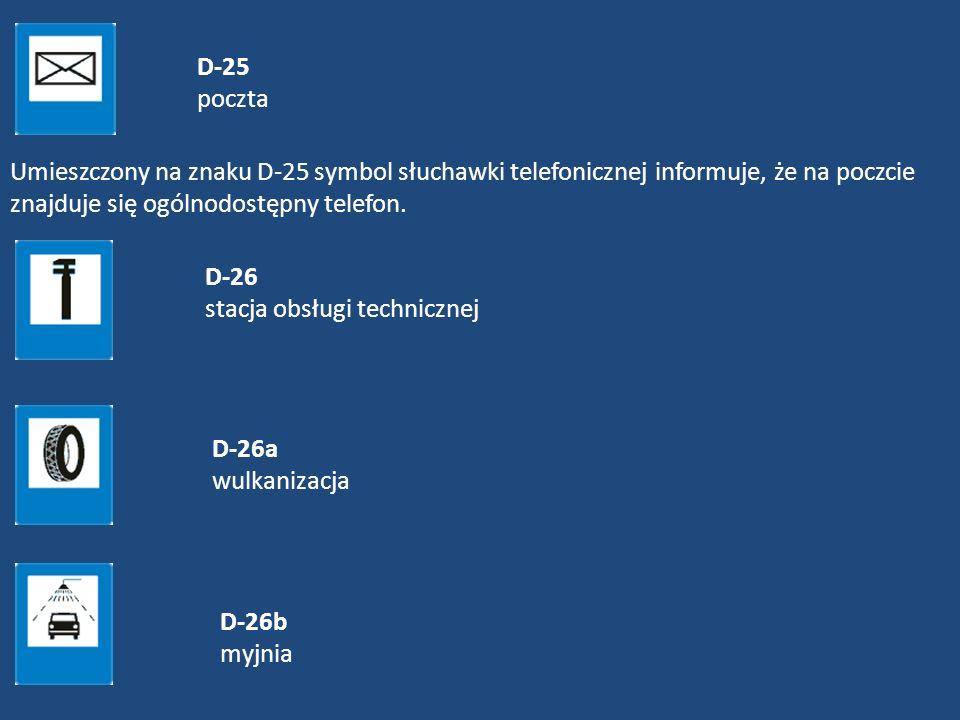 D-25 pocztaUmieszczony na znaku D-25 symbol słuchawki telefonicznej informuje, że na poczcie znajduje się ogólnodostępny telefon.