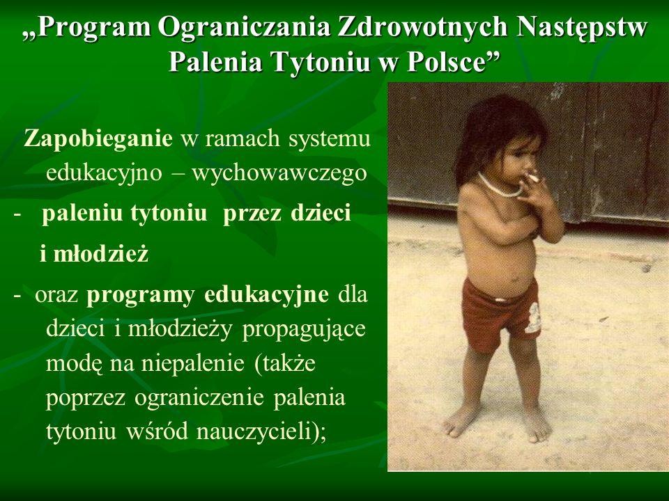 """""""Program Ograniczania Zdrowotnych Następstw Palenia Tytoniu w Polsce"""