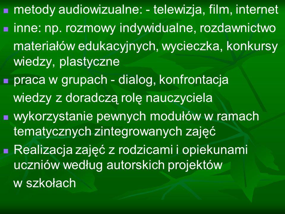 metody audiowizualne: - telewizja, film, internet