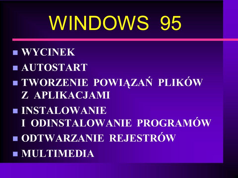 WINDOWS 95 WYCINEK AUTOSTART TWORZENIE POWIĄZAŃ PLIKÓW Z APLIKACJAMI