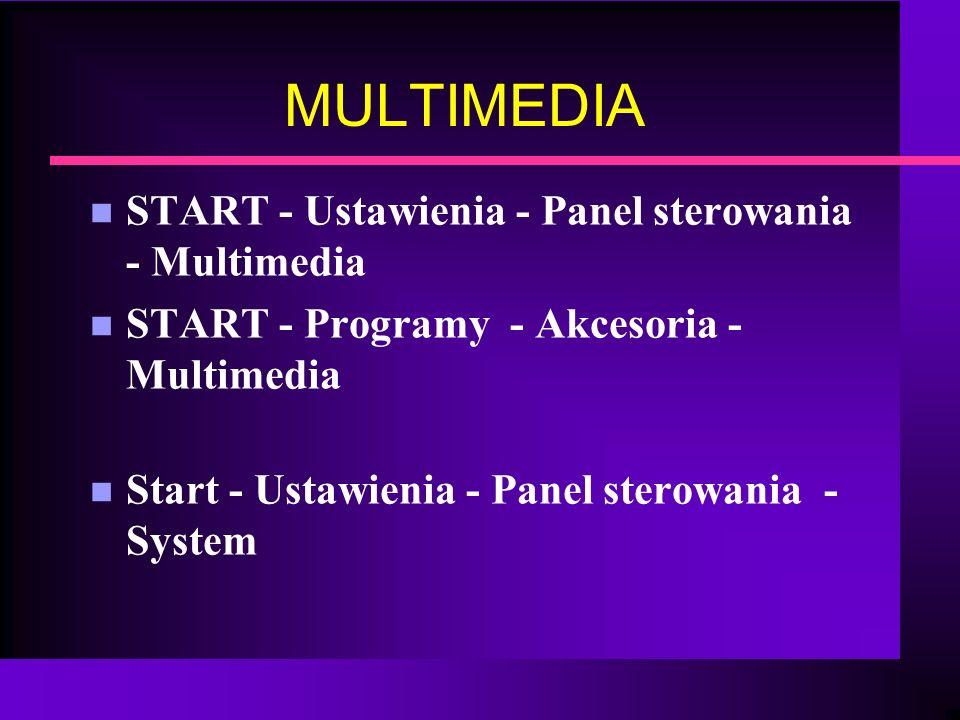 MULTIMEDIA START - Ustawienia - Panel sterowania - Multimedia