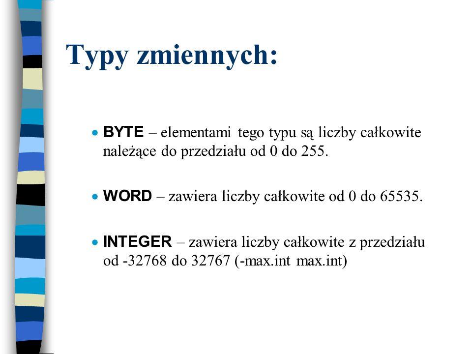 Typy zmiennych: BYTE – elementami tego typu są liczby całkowite należące do przedziału od 0 do 255.