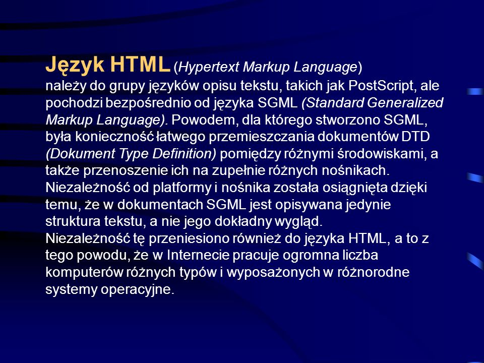 Język HTML (Hypertext Markup Language)