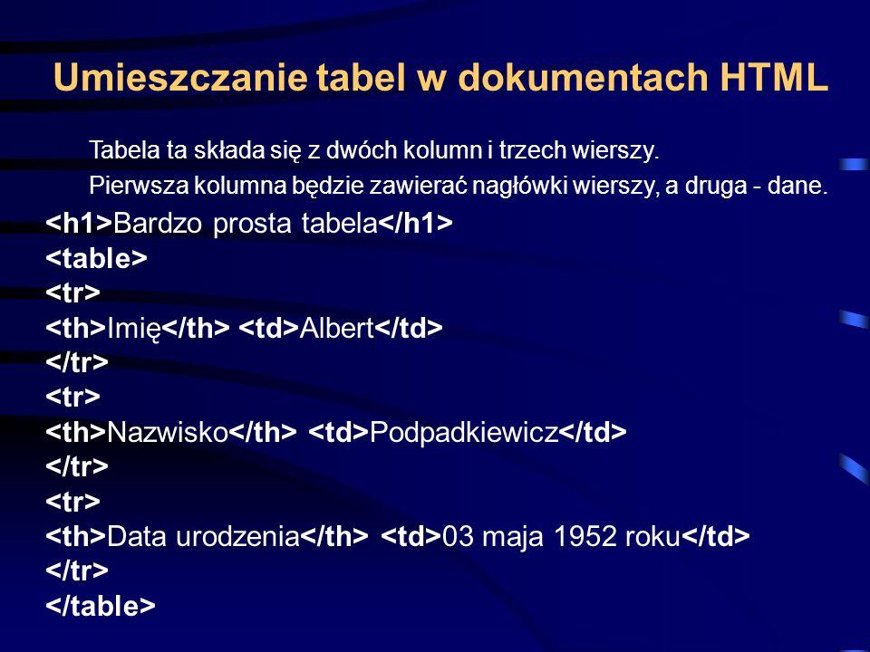 Umieszczanie tabel w dokumentach HTML