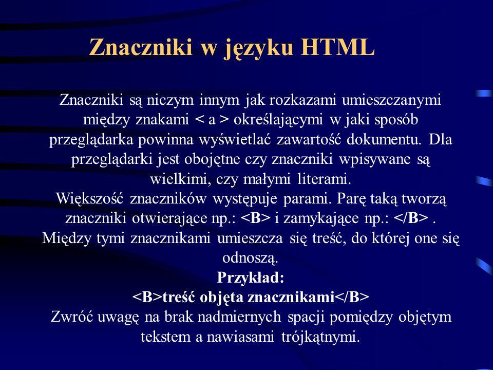 Znaczniki w języku HTML