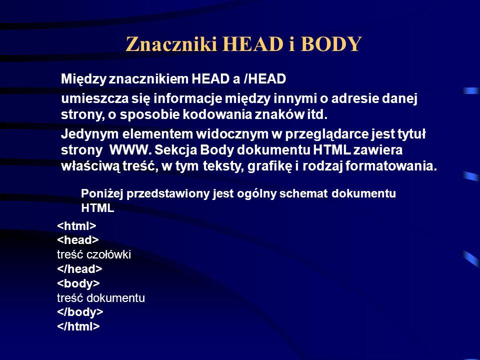 Znaczniki HEAD i BODY Między znacznikiem HEAD a /HEAD