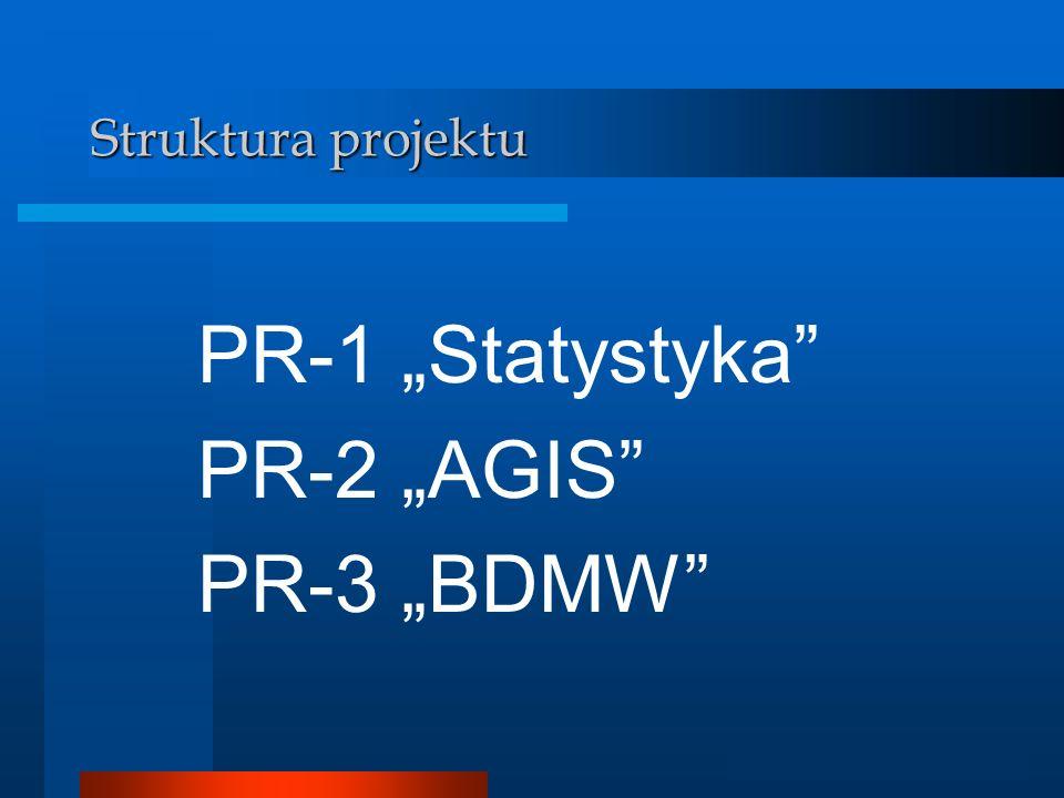 """Struktura projektu PR-1 """"Statystyka PR-2 """"AGIS PR-3 """"BDMW"""