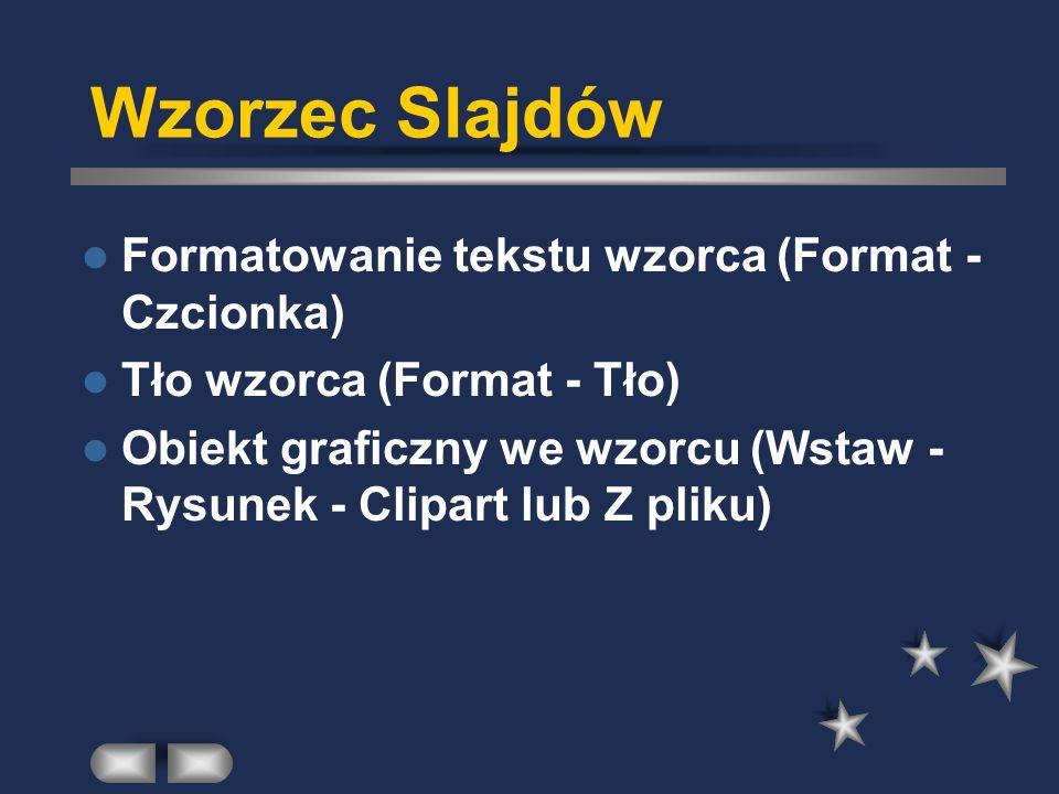 Wzorzec Slajdów Formatowanie tekstu wzorca (Format - Czcionka)