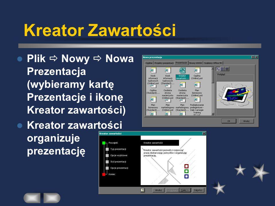 Kreator Zawartości Plik  Nowy  Nowa Prezentacja (wybieramy kartę Prezentacje i ikonę Kreator zawartości)