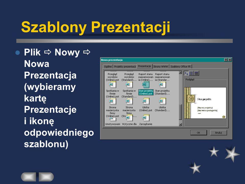 Szablony Prezentacji Plik  Nowy  Nowa Prezentacja (wybieramy kartę Prezentacje i ikonę odpowiedniego szablonu)