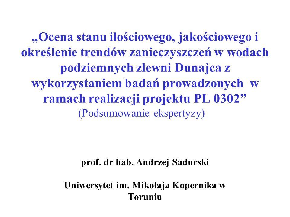 """""""Ocena stanu ilościowego, jakościowego i określenie trendów zanieczyszczeń w wodach podziemnych zlewni Dunajca z wykorzystaniem badań prowadzonych w ramach realizacji projektu PL 0302 (Podsumowanie ekspertyzy)"""