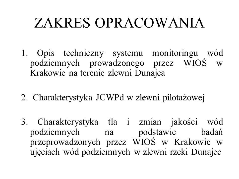 ZAKRES OPRACOWANIA 1. Opis techniczny systemu monitoringu wód podziemnych prowadzonego przez WIOŚ w Krakowie na terenie zlewni Dunajca.