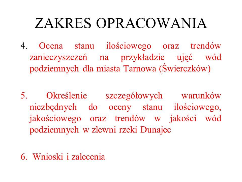 ZAKRES OPRACOWANIA 4. Ocena stanu ilościowego oraz trendów zanieczyszczeń na przykładzie ujęć wód podziemnych dla miasta Tarnowa (Świerczków)