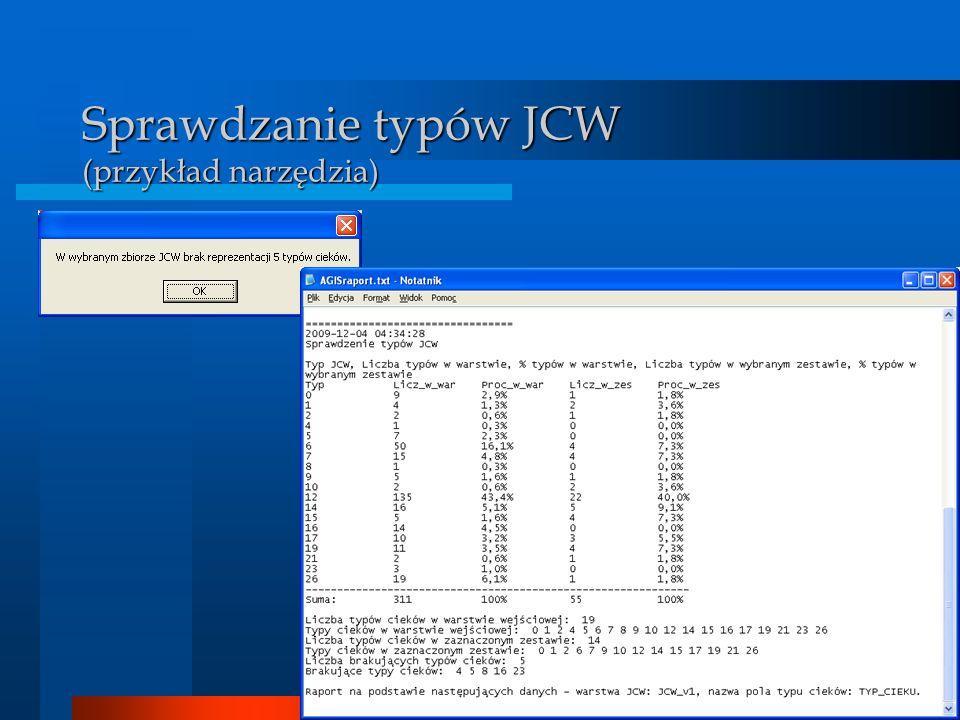 Sprawdzanie typów JCW (przykład narzędzia)