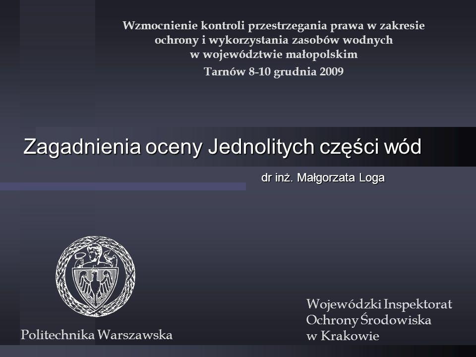 Zagadnienia oceny Jednolitych części wód dr inż. Małgorzata Loga