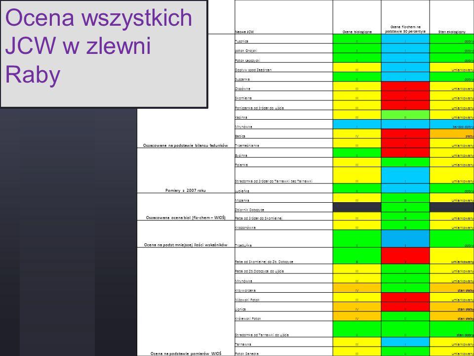 Ocena wszystkich JCW w zlewni Raby