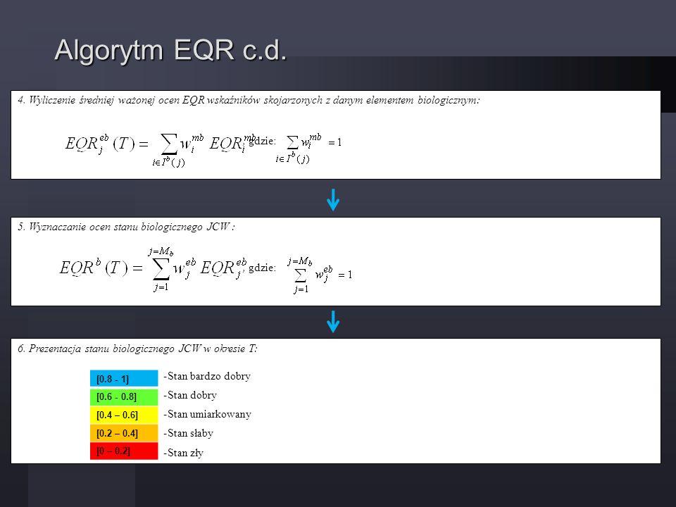Algorytm EQR c.d. 4. Wyliczenie średniej ważonej ocen EQR wskaźników skojarzonych z danym elementem biologicznym: