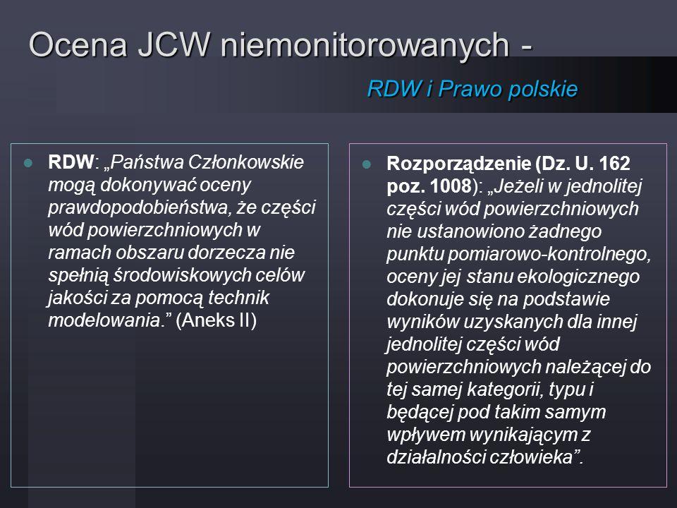 Ocena JCW niemonitorowanych - RDW i Prawo polskie
