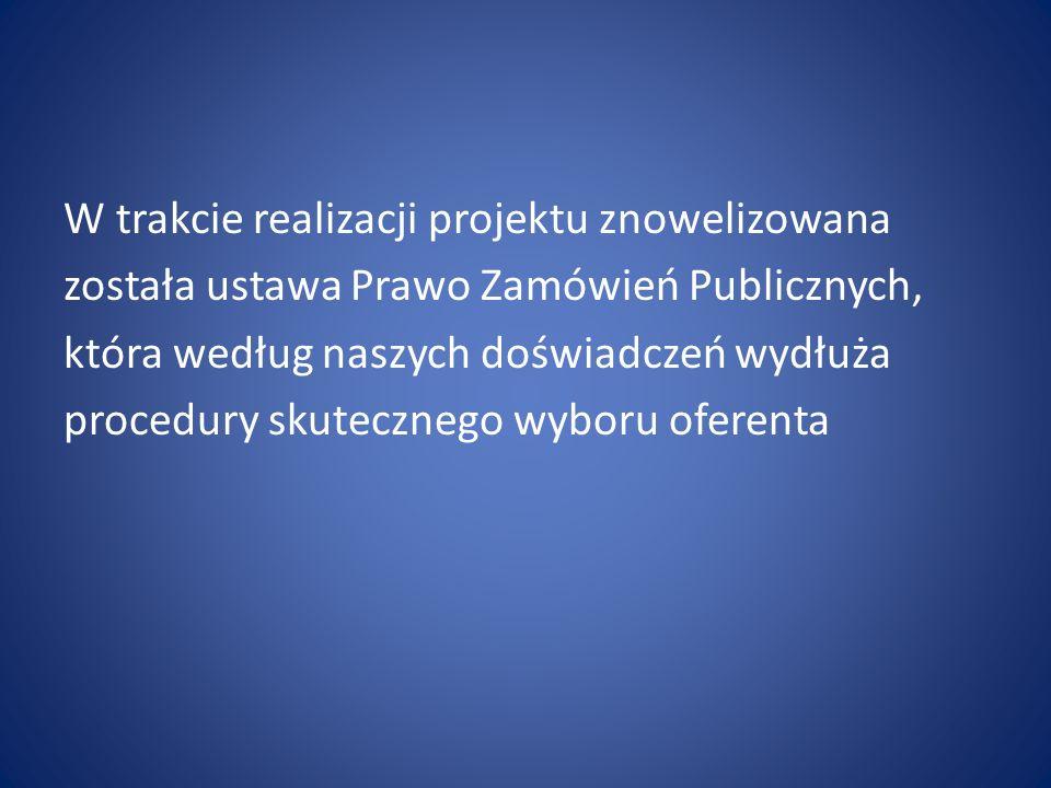 W trakcie realizacji projektu znowelizowana została ustawa Prawo Zamówień Publicznych, która według naszych doświadczeń wydłuża procedury skutecznego wyboru oferenta