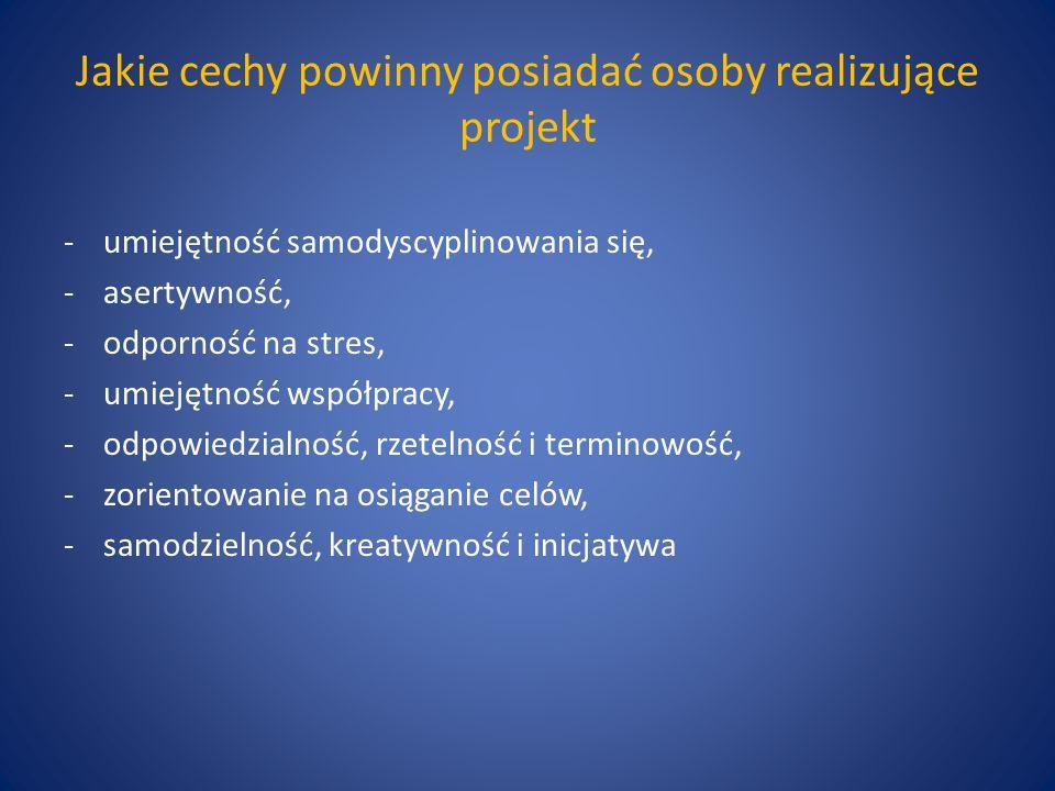 Jakie cechy powinny posiadać osoby realizujące projekt