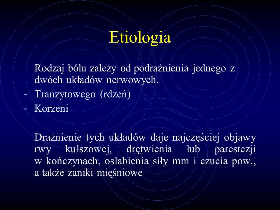 Etiologia Rodzaj bólu zależy od podrażnienia jednego z dwóch układów nerwowych. Tranzytowego (rdzeń)