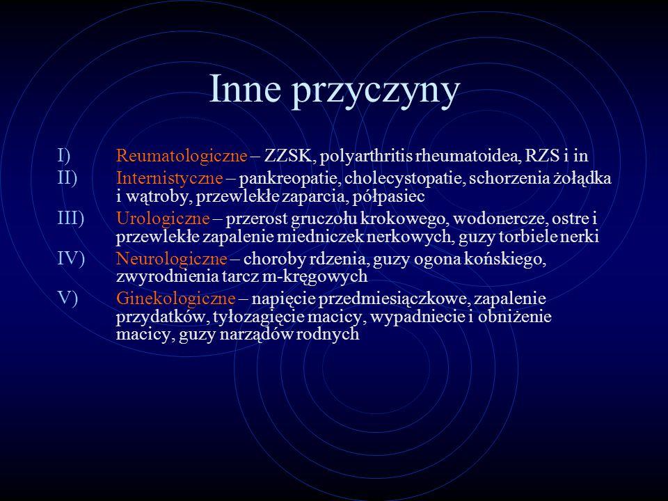 Inne przyczyny Reumatologiczne – ZZSK, polyarthritis rheumatoidea, RZS i in.