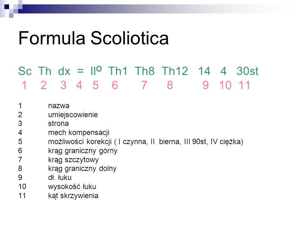 Formula Scoliotica Sc Th dx = IIO Th1 Th8 Th12 14 4 30st