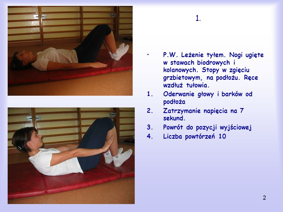 1.P.W. Leżenie tyłem. Nogi ugięte w stawach biodrowych i kolanowych. Stopy w zgięciu grzbietowym, na podłożu. Ręce wzdłuż tułowia.