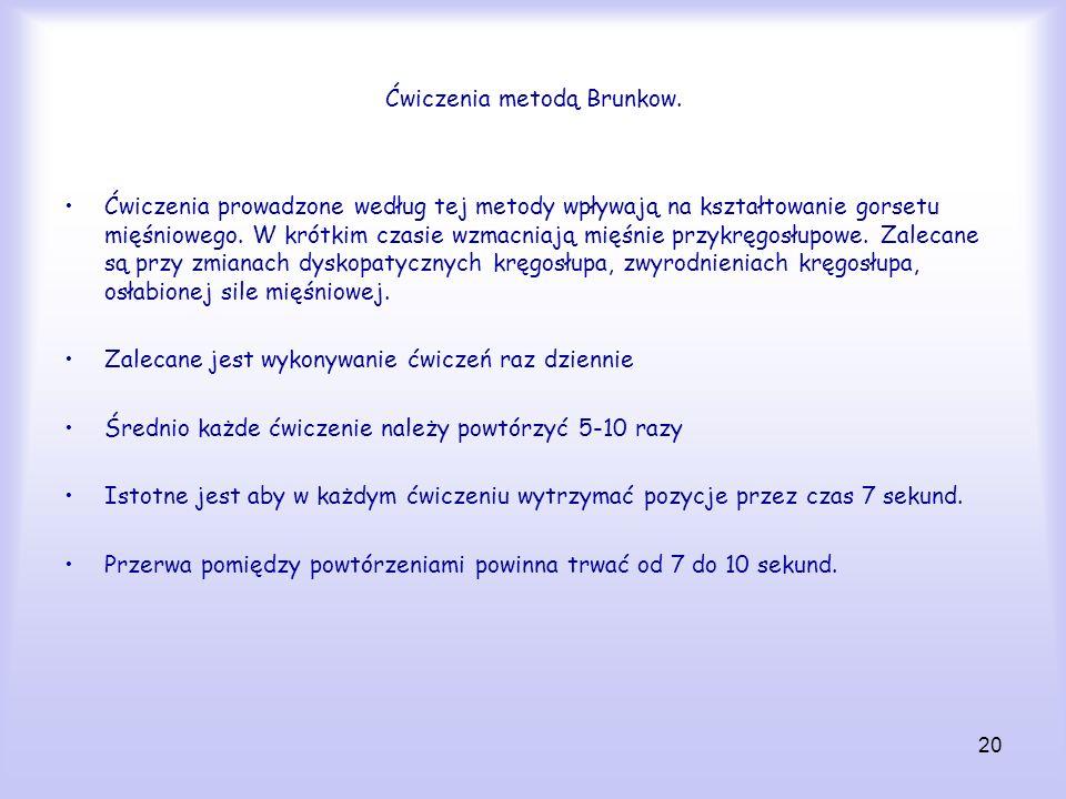 Ćwiczenia metodą Brunkow.