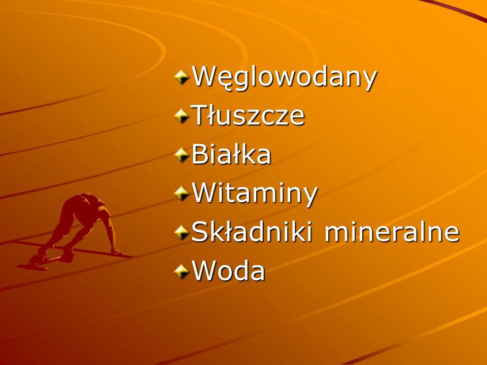 Węglowodany Tłuszcze Białka Witaminy Składniki mineralne Woda