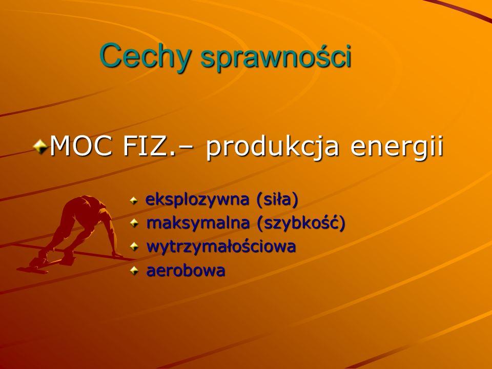 Cechy sprawności MOC FIZ.– produkcja energii maksymalna (szybkość)