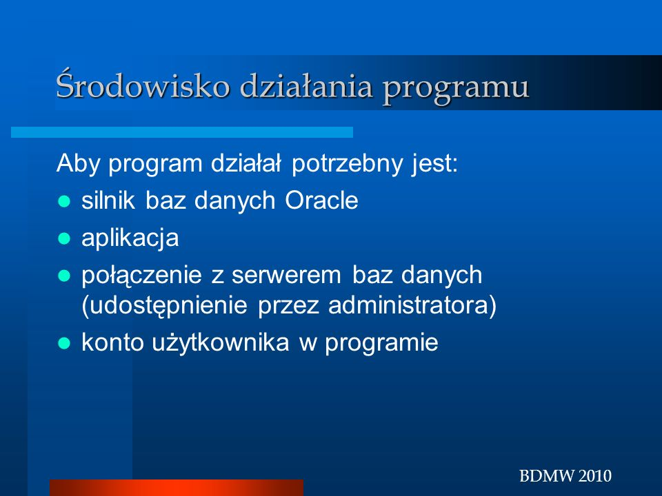 Środowisko działania programu