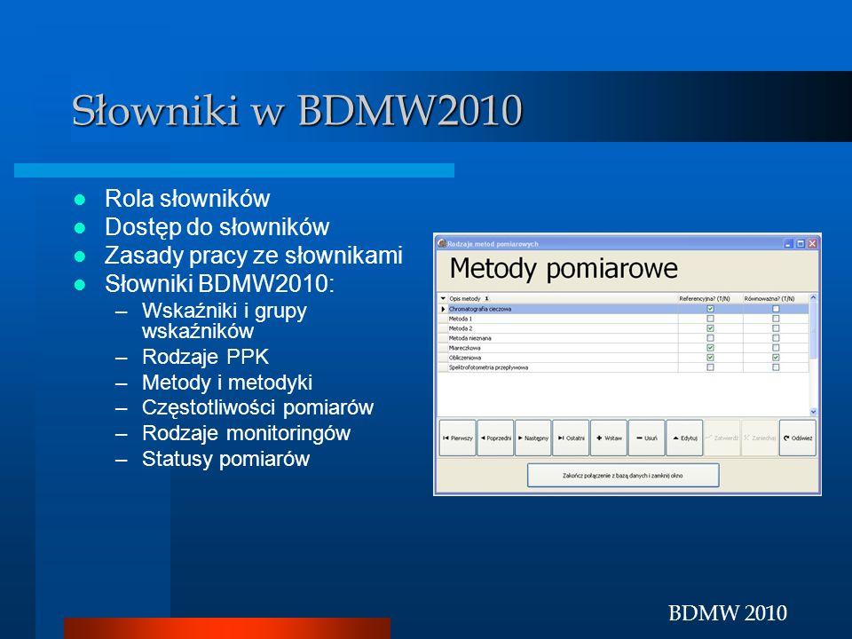 Słowniki w BDMW2010 Rola słowników Dostęp do słowników
