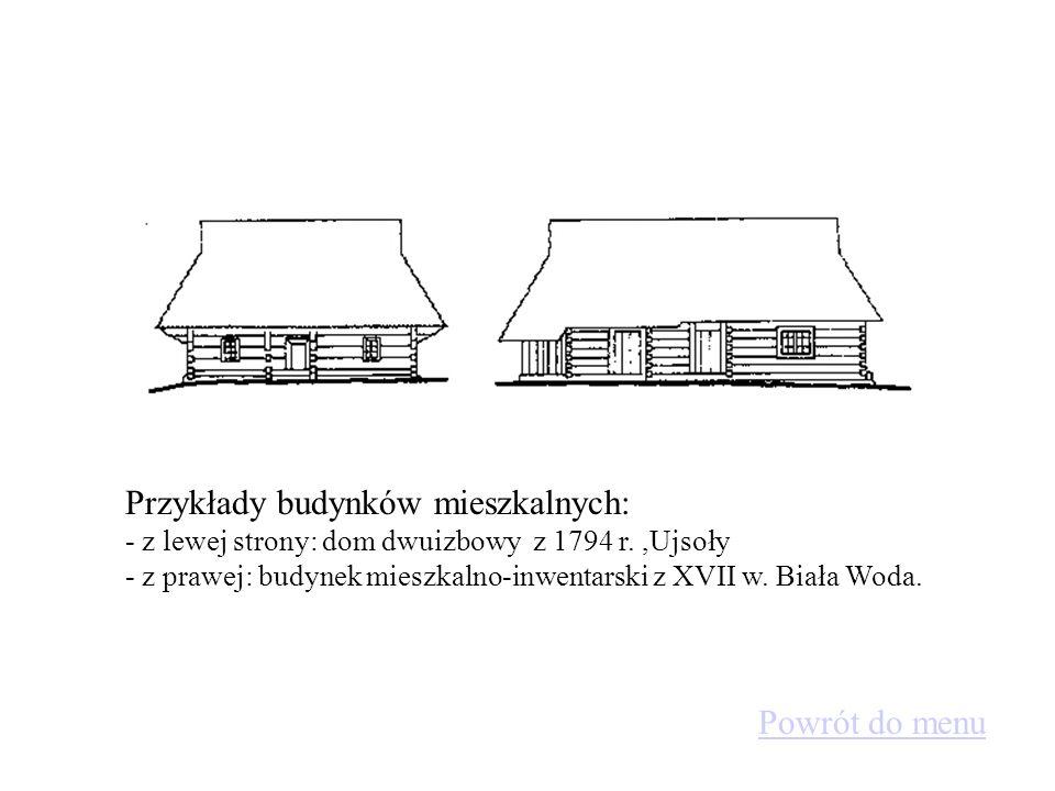 Przykłady budynków mieszkalnych: - z lewej strony: dom dwuizbowy z 1794 r. ,Ujsoły - z prawej: budynek mieszkalno-inwentarski z XVII w. Biała Woda.