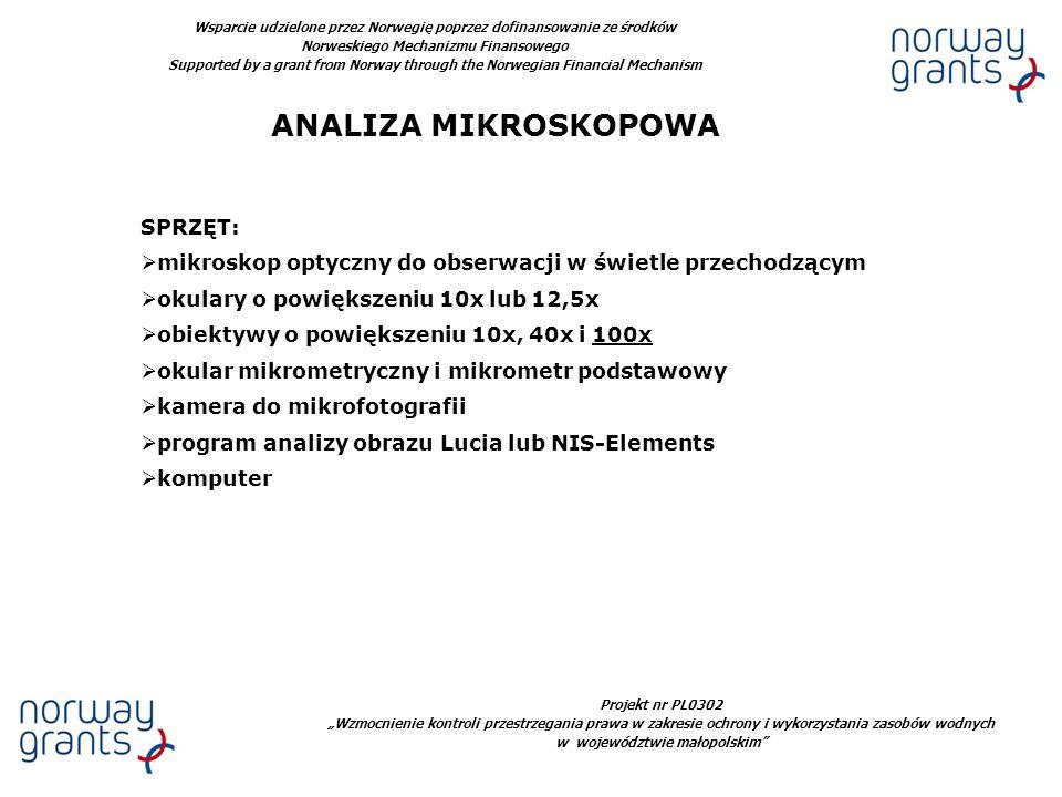 ANALIZA MIKROSKOPOWA SPRZĘT: