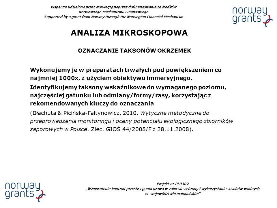 ANALIZA MIKROSKOPOWA OZNACZANIE TAKSONÓW OKRZEMEK