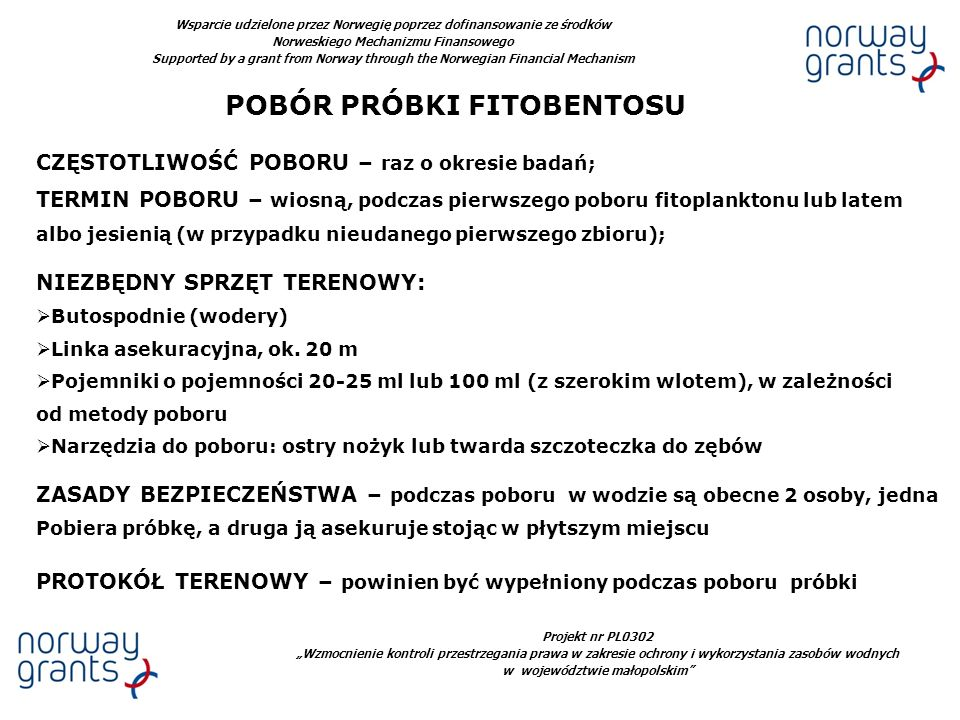 POBÓR PRÓBKI FITOBENTOSU