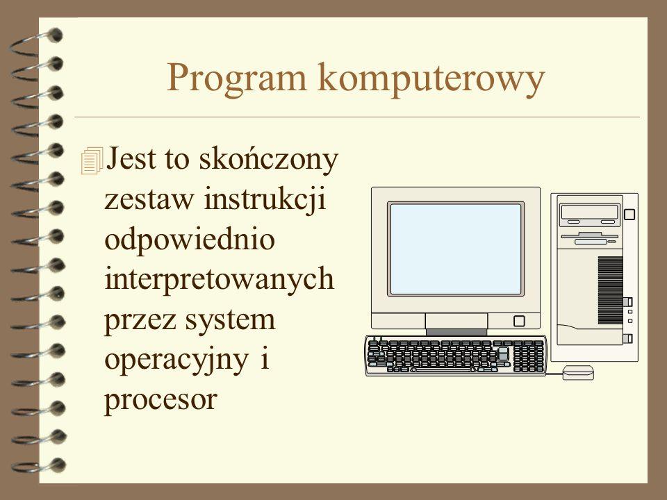 Program komputerowy Jest to skończony zestaw instrukcji odpowiednio interpretowanych przez system operacyjny i procesor.